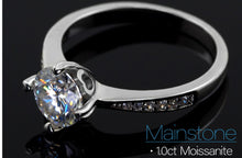 Load image into Gallery viewer, Buy Moissanite Engagement Rings for sale Free Shipping - Moissanite bridal set, halo moissanite ring, classic halo ring, wedding ring set, 925 sterling silver, white gold, moissanite band Sale | iiCandee