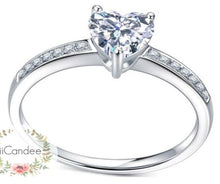 Load image into Gallery viewer, buy Sterling Silver Solitaire Heart cut Engagement Ring  • Promise ring shop at iicandee
