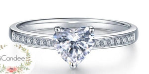 Sterling Silver Solitaire Heart cut Engagement Ring  • affordable engagement rings under $100, engagement rings on sale at iicandee