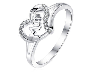 925 Sterling Silver Ring Heart Mom Ring sale at iicandee