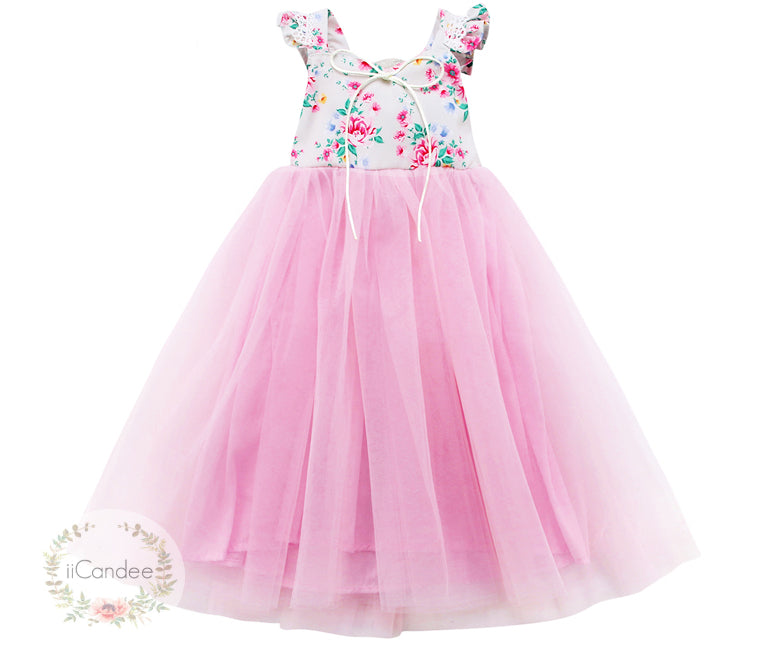 Baby Toddler Girls Princess Sleeveless Floral Tulle Mesh Dress • Special Occasion Dress - iiCandee