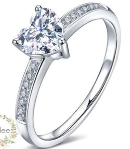 buy Sterling Silver Solitaire Heart cut Engagement Ring  • Promise ring shop at iicandee