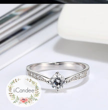 Load image into Gallery viewer, Sterling Silver Solitaire Engagement Ring  • Promise ring