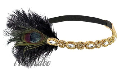1920s Flapper Headband Gold Black Feather Great Gatsby Headpiece - iiCandee