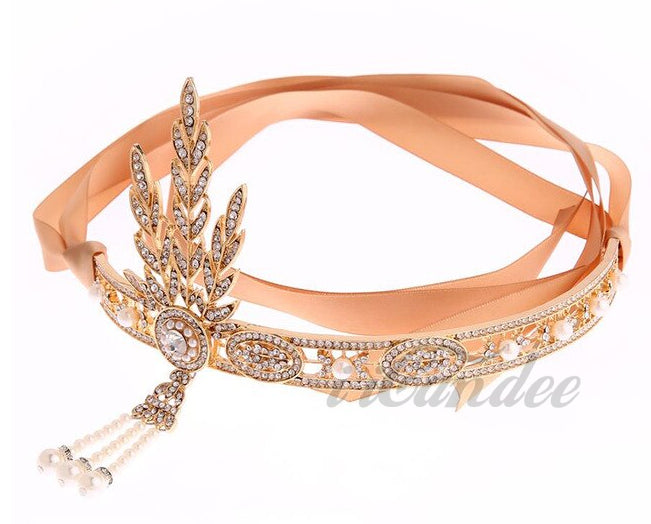 1920s Flapper Great Gatsby Leaf Tiara Pearl Headpiece Headband and Bracelet with attached ring - iiCandee