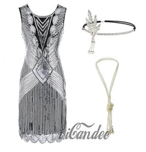 Load image into Gallery viewer, 1920s Great Gatsby Flapper Dress and Accessories - Gold Fringed Sequin Flapper Dress - iiCandee