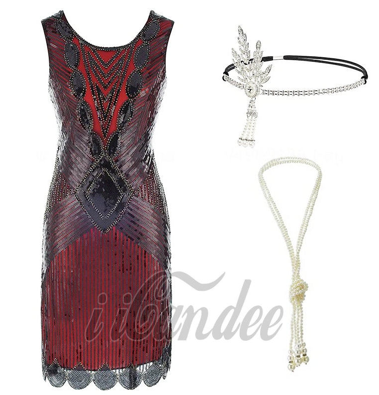 1920s Great Gatsby Fringed Sequin Flapper Dress and accessories - iiCandee
