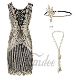 1920s Great Gatsby Flapper Dress and Accessories - Gold Fringed Sequin Flapper Dress - iiCandee