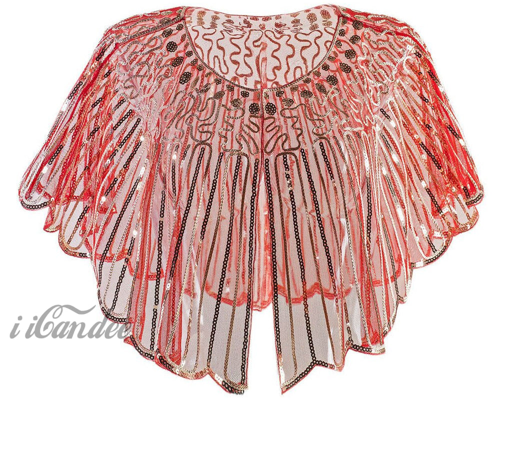 1920s Shawl Wrap Art Deco Sequin Beaded Evening Capelet Flapper Cover Up - iiCandee
