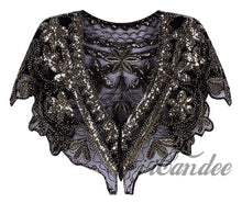 Load image into Gallery viewer, 1920s Shawl Wrap Sequin Beaded Evening Capelet Flapper Cover Up - iiCandee