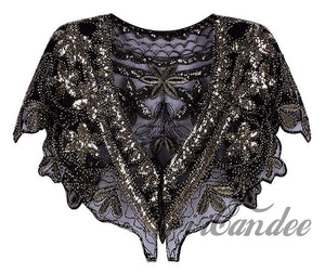 1920s Shawl Wrap Sequin Beaded Evening Capelet Flapper Cover Up - iiCandee
