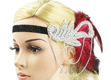 Load image into Gallery viewer, 1920s Great Gatsby Black and Red Rhinestone & Feather Flapper Headband - Gatsby headpiece - iiCandee
