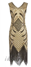Load image into Gallery viewer, 1920s Great Gatsby Gold Beaded Fringe Flapper Dress with Roaring 20s accessories - iiCandee