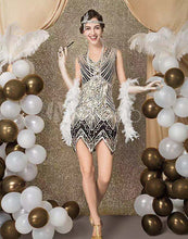Load image into Gallery viewer, 1920s Great Gatsby Fringed Sequin Flapper Dress- Beaded Shawl Wrap Evening Cape Flapper Headband and accessories - iiCandee