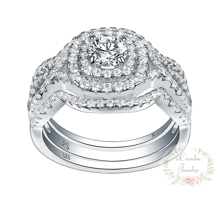 Platinum over Sterling Silver 3 Piece Round Cut White Sapphire Wedding Ring - Engagement Ring Set