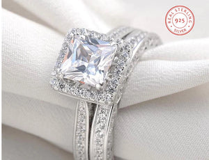 Shop Sterling Silver Princess Cut Engagement Ring on sale at iicandee.com