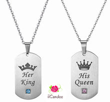 Load image into Gallery viewer, His Queen Her King Silver Stainless Steel Couple Necklace