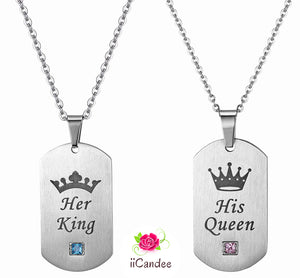 His Queen Her King Silver Stainless Steel Couple Necklace