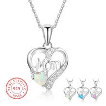 Load image into Gallery viewer, Buy Women's Sterling Silver Love Mom Opal Necklace| mystic fire topaz pendant necklace |Titanium Stainless Steel Her King His Queen Band Ring Promise Ring - to Heart Pendant Necklace & Earrings Set - Stars to Hearts Hoop Earrings - Angel wings stud earrings - We Have It all at reasonable and affordable prices | iiCandee.com