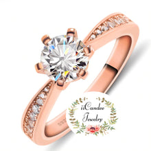 Load image into Gallery viewer, Buy Rose Gold Round cut Moissanite Engagement Ring-iicandee