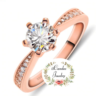 Buy Rose Gold Round cut Moissanite Engagement Ring-iicandee