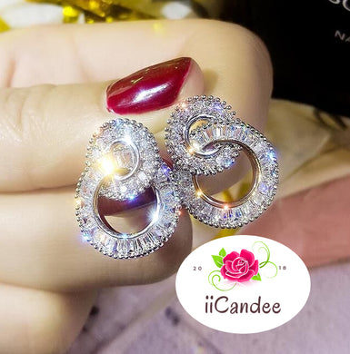 S925 Sterling Silver Round Bling Zircon Stone Stud Earrings