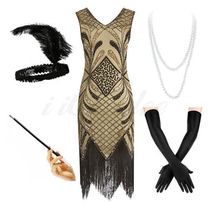 1920s Great Gatsby Gold Beaded Fringe Flapper Dress with Roaring 20s accessories - iiCandee