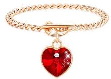 Load image into Gallery viewer, Crystal Heart charm Bracelet , Crystal Heart Bracelet, heart bracelet cheap,heart charm bracelet pandora,14k gold heart bracelet,heart bracelet amazon,heart bracelet gold,heart bracelet rose gold,swarovski,heart bracelet for girlfriend- iiCandee.com
