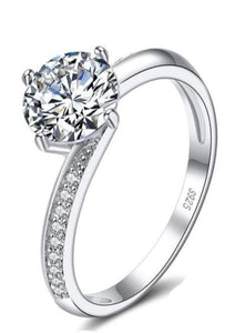 Sterling Silver 925 Solitaire Round Cut Engagement Ring