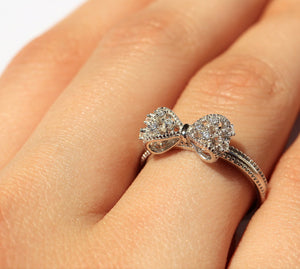 Sterling Silver Bow Ring with Cubic Zirconia