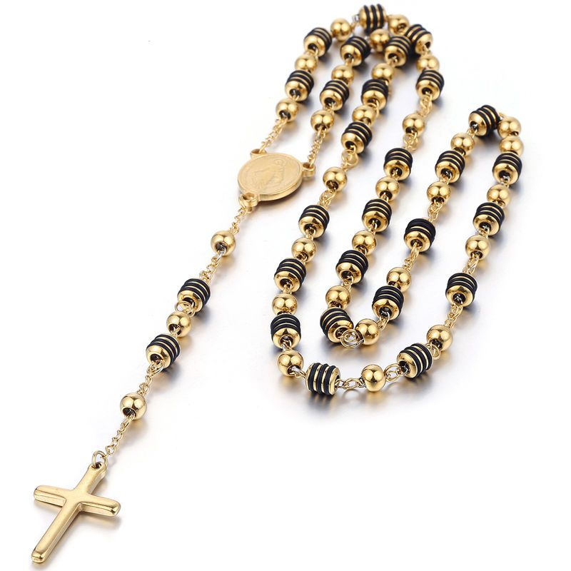 Gold Beaded Rosary Cross Pendant Necklace