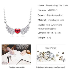 Angel Wings Swarovski Crystal Heart Charm Necklace - iiCandee