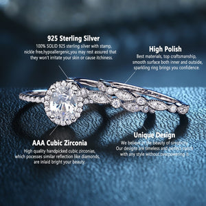 1.8 Ct Oval 925 Sterling Silver 3 Pcs Women's Engagement Ring Set - Wedding Ring Bridal Set - iiCandee