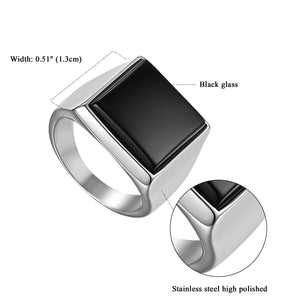 Classic Polished Silver Black Stainless Steel Men's Ring - iiCandee