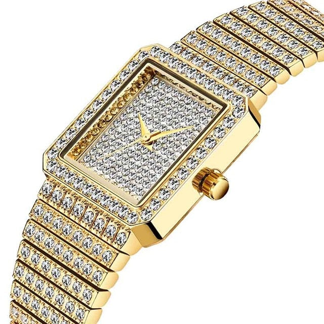 Women's Gold Bling  Square  Watch Embellished with Crystals