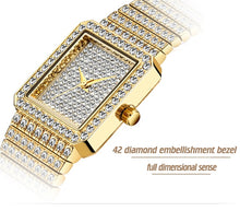 Load image into Gallery viewer, Women's Gold Bling  Square  Watch Embellished with Crystals