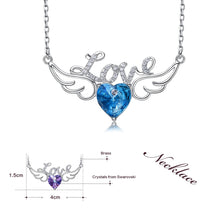 Load image into Gallery viewer, Angel Wings Swarovski Crystal Heart pendant Necklace - iiCandee