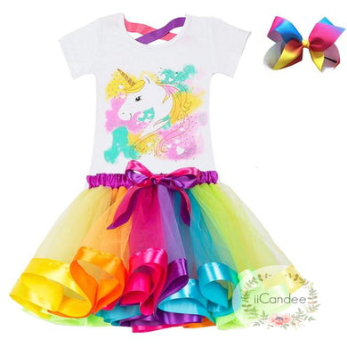 Baby Toddler Girl Unicorn 1st Birthday Rainbow Tutu Skirt Dress & Unicorn Hair Bow • Cake Smash Dress - iiCandee