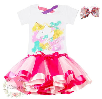 Baby Toddler Girl Unicorn 1st Birthday Tutu Skirt Dress & Unicorn Hair Bow • Cake Smash Dress - iiCandee