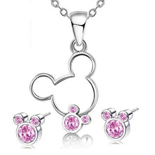 Load image into Gallery viewer, Cubic zirconia Mouse Necklace and earrings sets Jewelry Gift Sets - iiCandee