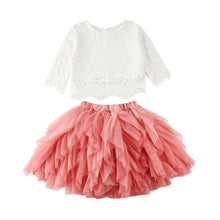 Load image into Gallery viewer, Baby Toddler Girls 2PC Ruffled Tutu Mesh Skirt and Lace Top • Special Occasion Dress - iiCandee