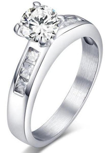 Silver Tone Titanium Steel Round cut Solitaire Engagement Ring sale at iicandee