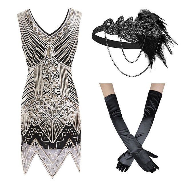 1920s Great Gatsby Fringed Sequin Flapper Dress- Beaded Shawl Wrap Evening Cape Flapper Headband and accessories - iiCandee
