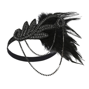 1920s Great Gatsby Black and Red Rhinestone & Feather Flapper Headband - Gatsby headpiece - iiCandee