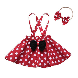 Shop Toddler Baby Girls Polka Dots Romper Overall Suspender Skirt + Headband outfit on sale at iicandee.com