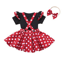 Load image into Gallery viewer, Shop Toddler Baby Girls Polka Dots Romper Overall Suspender Skirt + Headband outfit on sale at iicandee.com
