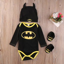 Load image into Gallery viewer, Baby Boy Batman Romper Bodysuit+Shoes+Hat Clothes 3Pcs Outfit - iiCandee