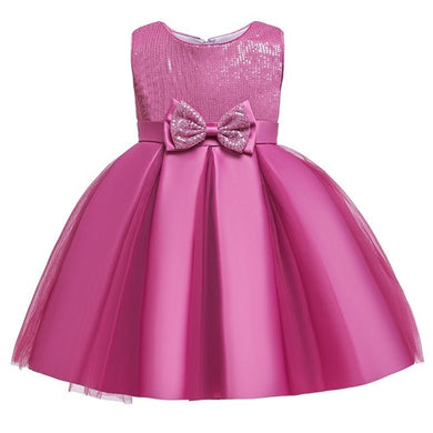 Kids Girls Sequins & Bow Birthday Dress • Special occasion Dresses - iiCandee