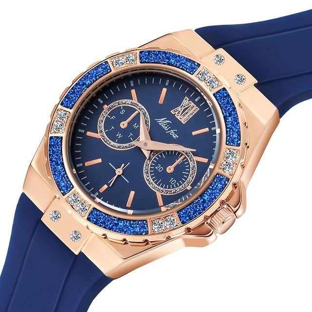 Miss Fox Women's Rose Gold Sport Watch Embellished with Crystals at iiCandee.com