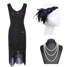 Load image into Gallery viewer, 1920s Great Gatsby Flapper Dress - Black Red Sequin Fringed Flapper Dress with Roaring 20s Accessories - iiCandee